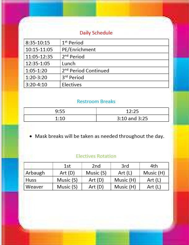 Weaver Daily Schedule