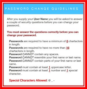 Password Change Guidelines