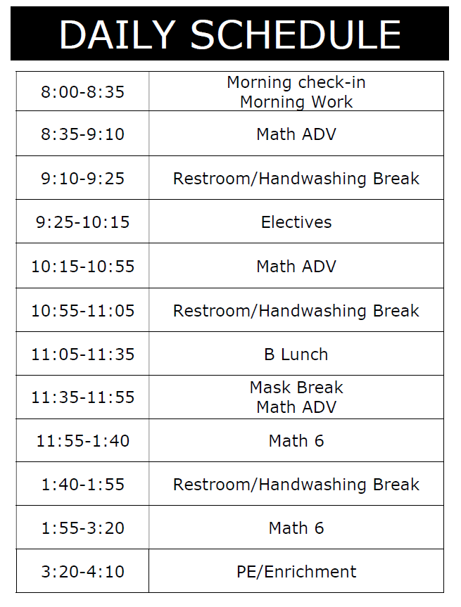 Mrs. Harris' Daily Schedule