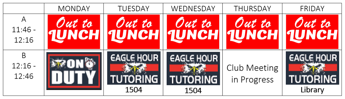 Eagle Hour Schedule